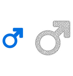2d mesh male symbol and flat icon vector