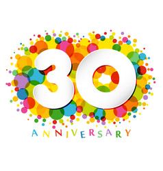 30 years anniversary paper colorful logo vector image