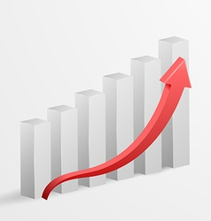 3d business growth bar graph vector