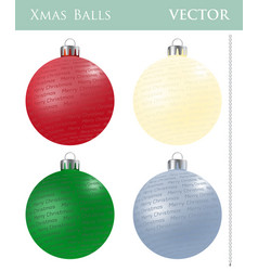 a set of colored christmas balls vector image