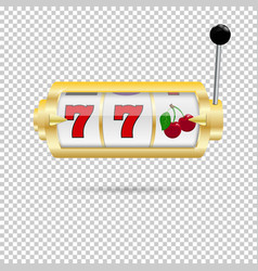 A slot fruit machine with cherry winning on 7s vector