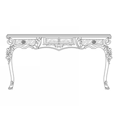 Baroque style table with ornaments vector