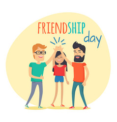 Best friends spend fun time friendship day flat vector