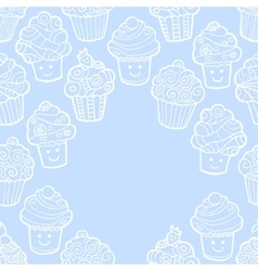 Blue background with cute doodle cupcakes vector image
