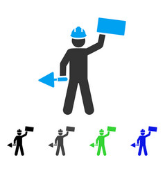 Brickwork builder flat icon vector