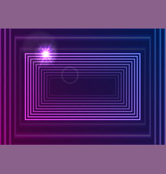 bright neon glowing rectangle frame abstract vector image