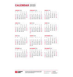 calendar for 2020 year week starts on sunday vector image