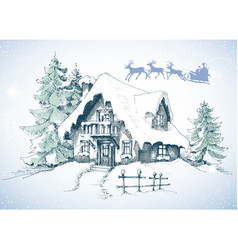 Christmas card winter landscape vector