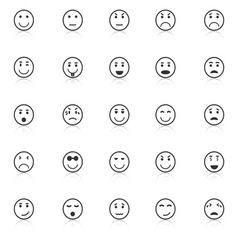 Circle face icons with reflect on white background vector