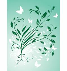 circling the leaves and butterflies vector image