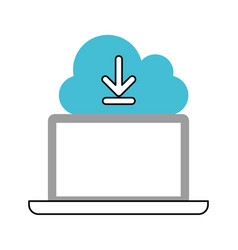 cloud computing with laptop computer vector image