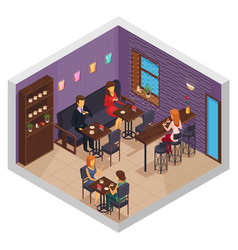 Coffee house interior composition vector