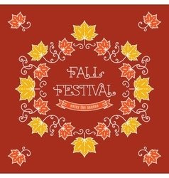 Colorful fall festival template Frame maple leaves vector image