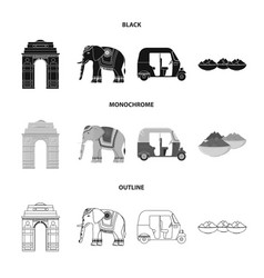 Country india blackmonochromeoutline icons in vector