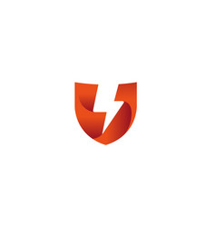 creative red shield thunder logo vector image