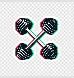 Crossed dumbbell sticker design vector