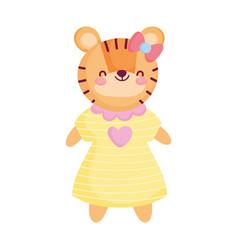 Cute female tiger with dress animal cartoon vector