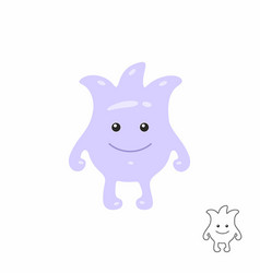 cute purple cartoon monster vector image