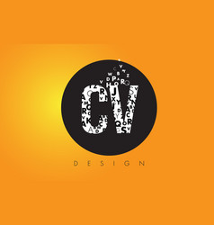 Cv c v logo made of small letters with black vector