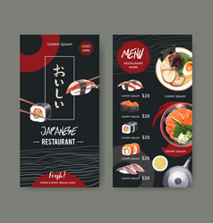 Design template with food watercolor graphic vector