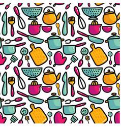 doodle cartoon kitchen elements seamless pattern vector image