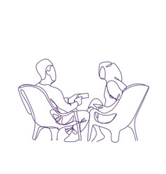 doodle couple sit in armchairs speaking hand drawn vector image