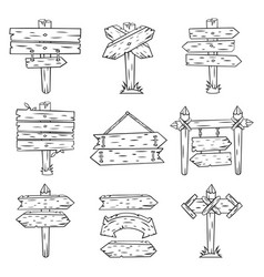 Doodle wood signs hand drawn wooden signpost vector