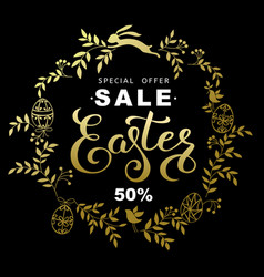 easter sale banner with wreath golden leaves and vector image