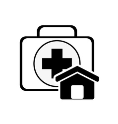 First aid kit and house icon vector
