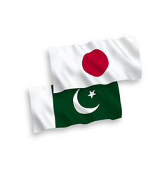 Flags japan and pakistan on a white background vector