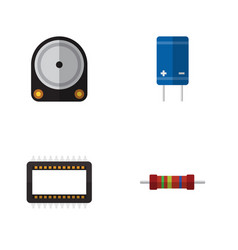 flat icon device set of mainframe resistance vector image