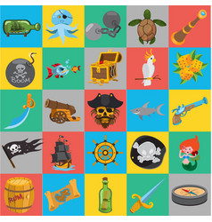 flat pirate icons pirate history vector image