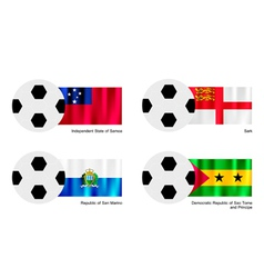 Football with Samoa Sark San Marino and Sao Tome vector image