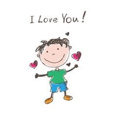 funny doodles boy vector image