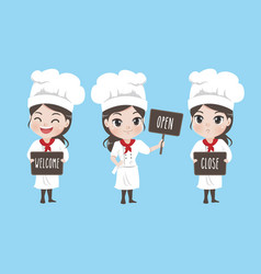 Girl chef holds a signage vector