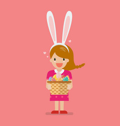 girl with bunny ears mask holding basket full of vector image
