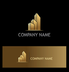 gold building business company logo vector image