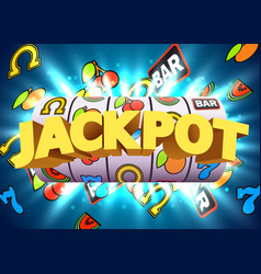 golden slot machine wins the jackpot big win vector image