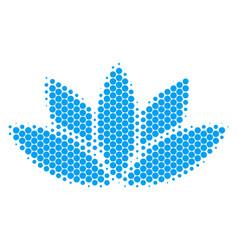 Halftone dot lotus flower icon vector