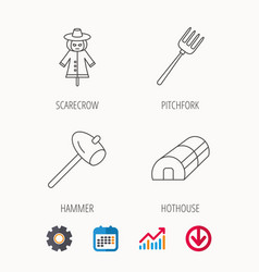 Hammer hothouse and scarecrow icons vector