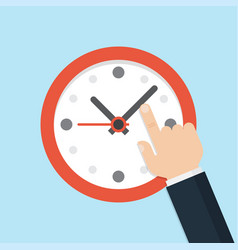hand pointing at clock time management vector image