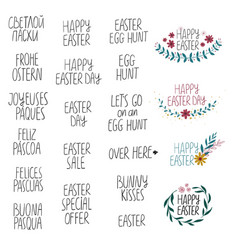 happy easter collection with lettering phrases vector image