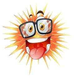 Happy face on thorny ball vector