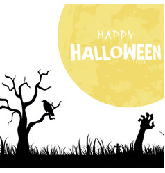 happy halloween zombie hand full moon background v vector image