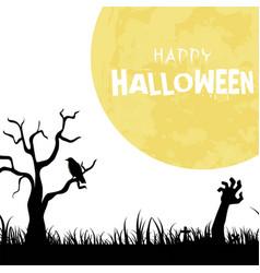 happy halloween zombie hand full moon background v vector image