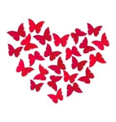 Heart of butterflies vector