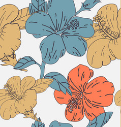 hibicus flowers pattern 3 vector image