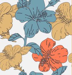 hibicus flowers pattern 3 vector image