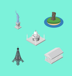 Isometric attraction set of india mosque paris vector