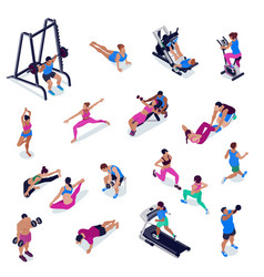 isometric fitness set vector image